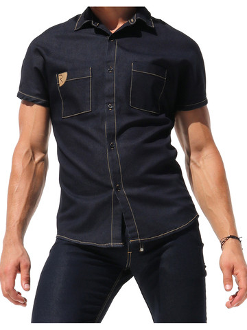 Rufskin Stud Denim-Shirt shortsleeve indigo