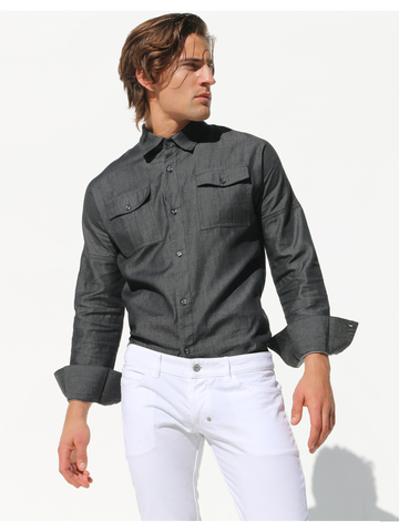 Rufskin Allen Denim-Shirt grau